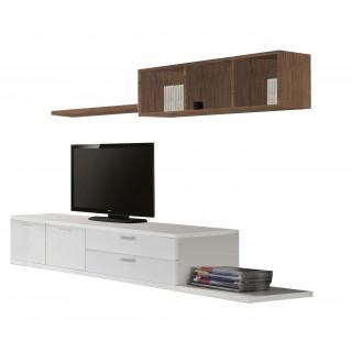 Mueble de salón moderno en Blanco y Nogal Cubos