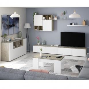 Conjunto mueble de salón Evo, mesa centro elevable Kendra y aparador Loira en color Roble Alaska y Blanco Artik