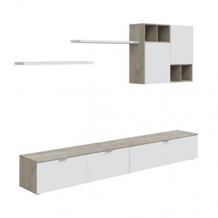 Mueble salón Evo Roble Alaska y Blanco Artik. 2 módulos bajos con puertas batientes, módulo alto con puertas y 2 estantes.