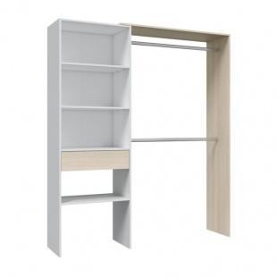 Armario vestidor 1 cajón blanco y roble con 2 barras de colgar, 4 estantes, 2 regulables en altura.