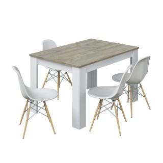 Conjunto mesa extensible kendra roble alaska y blanco artik más 4 sillas tower blancas. Sayez