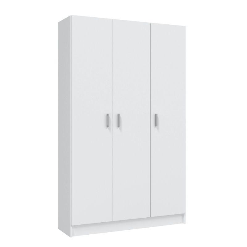 Armario multiusos 3 puertas con escobero en Blanco, altillo, 3 estantes regulables en altura, armario barato. Sayez