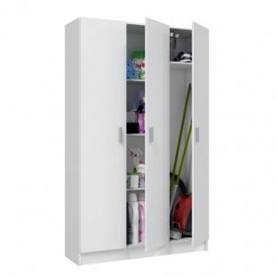 Armario multiusos 3 puertas con escobero Blanco abierto. altillo, 3 estantes regulables en altura, armario barato. Sayez