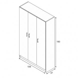 Medidas Armario multiusos 3 Puertas con escobero, armario auxiliar barato con estantes. Sayez