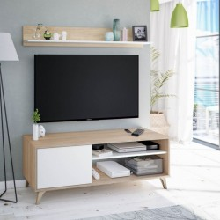 Mueble de Tv con estante Kikua Plus acabado Roble Canadian y Blanco Artik. Mueble tv 1 puerta 2 huecos.  Sayez