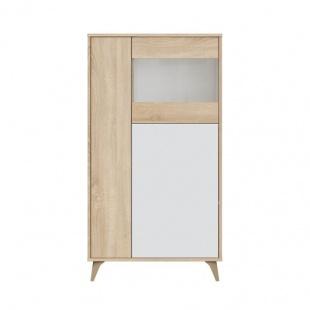 Mueble Vitrina 3 Puertas Kikua Plus con estantes interiores y acabado Roble Canadian y Blanco Artik. Sayez
