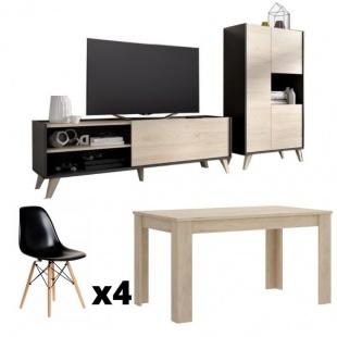 Conjunto salón ness plus grafito y natural, mueble televisión, aparador alto 3 puertas, mesa comedor y 4 sillas negras