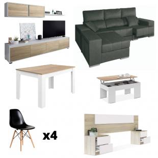 Pack con mueble salón y estante superior, mesa de centro, cabezal, mesa comedor extensible, 4 sillas y chaiselongue