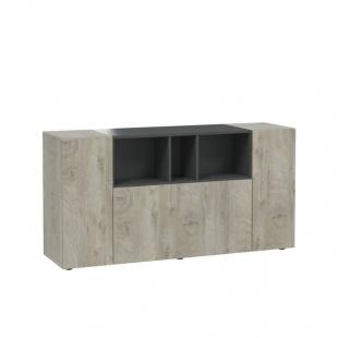 Mueble aparador Tamiko color Roble Alaska y Gris Antracita. 2 puertas laterales y zona central con 3 huecos y puerta batiente.