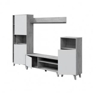 Mueble de Salón Zoe modular cemento blanco artik, módulo tv, módulo vitrina, módulo estantería y estante de colgar