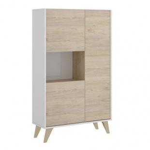 Mueble aparador 3 puertas 1 hueco ness en color blanco y natural