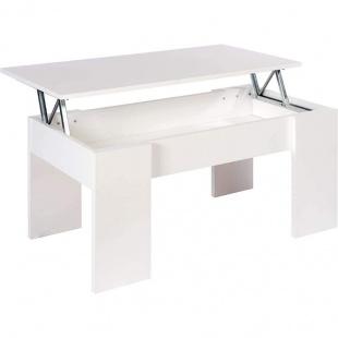 Mesa de centro elevable Gala color blanco con hueco interior para guardar cosas. Sayez