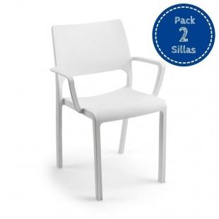 Silla fija apilable Tramonta con brazos color blanco, ergonómica y cómoda, interior y exterior. Pack 2 unidades. Sayez