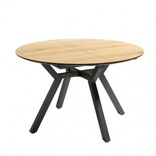 Mesa de comedor extensible Cantábrico acabado color Roble patas negras, diseño nórdico, mesa barata. Sayez