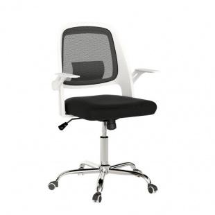 Silla de oficina Kiev color Blanco y Negro, cómoda y ergonómica, silla escritorio barata y de calidad. Sayez