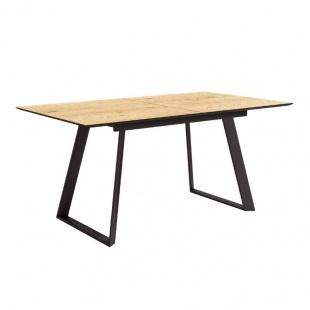 Mesa de comedor extensible Timor acabado color Roble patas negras, diseño nórdico e industrial, mesa barata. Sayez