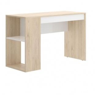 Mesa Escritorio Teo Natural y Blanco, mesa oficina reversible, 1 cajón, 1 estantería y 2 huecos, barata, Sayez