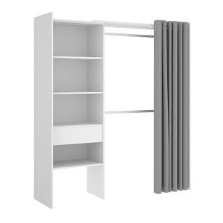 Armario Vestidor 1 Cajón y Cortina Suit en blanco, 2 barras de colgar, 4 estantes y 1 cajón, reversible, barato, Sayez