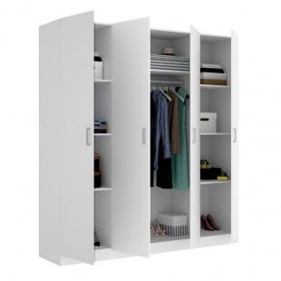 Armario 4 Puertas Maxi Blanco abierto 215 cm de alto, estante y barra de colgar, 3 estantes en cada lado, barato. Sayez