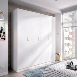 Armario 4 Puertas Maxi Blanco cerrado 215 cm de alto, estante y barra de colgar, 3 estantes en cada lado, barato. Sayez
