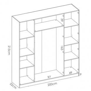 Medidas Armario 4 Puertas Maxi Blanco 215 cm de alto, estante y barra de colgar, 3 estantes en cada lado, barato. Sayez