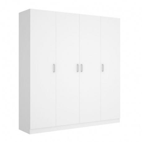 Armario 4 Puertas Maxi Blanco 215 cm de alto, estante y barra de colgar, 3 estantes en cada lado, barato. Sayez
