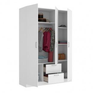 Armario 3 puertas 2 cajones Maxi 215 cm de altura abierto, blanco, barra de colgar, 5 estantes, muy barato. Sayez