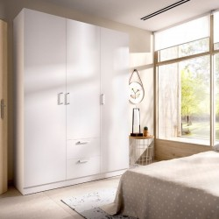 Armario 3 puertas 2 cajones Maxi 215 cm de altura cerrado, blanco, barra de colgar, 5 estantes, muy barato. Sayez