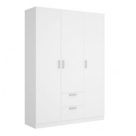 Armario 3 puertas 2 cajones Maxi 215 cm de altura, blanco, barra de colgar, 5 estantes, muy barato. Sayez