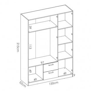 Medidas armario 3 puertas 2 cajones Maxi 215 cm de altura, blanco, barra de colgar, 5 estantes, muy barato. Sayez