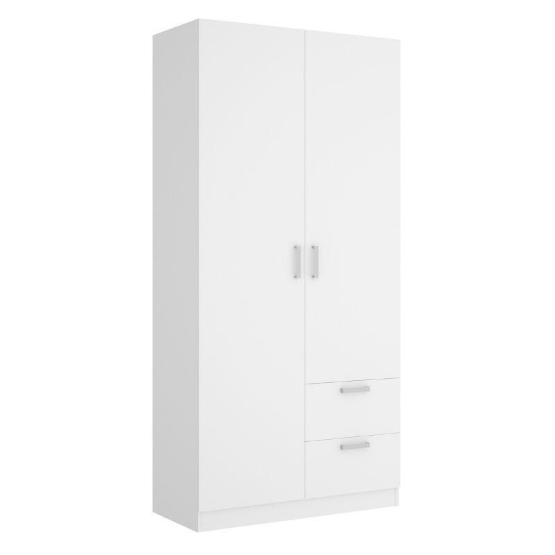 Armario 2 puertas 2 cajones Maxi 215 cm de altura, blanco con barra de colgar y 2 estantes, muy barato. Sayez