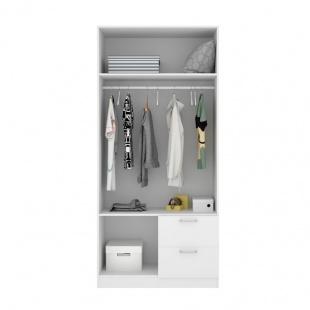 Armario 2 puertas 2 cajones Maxi abierto frontal 215 cm de altura, blanco con barra de colgar y 2 estantes, barato. Sayez