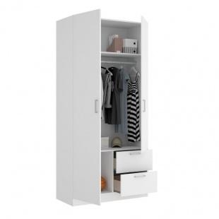 Armario 2 puertas 2 cajones Maxi abierto 215 cm de altura, blanco con barra de colgar y 2 estantes, muy barato. Sayez