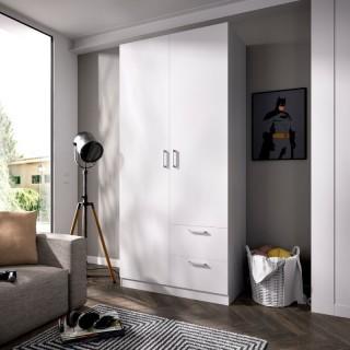 Armario 2 puertas 2 cajones Maxi cerrado 215 cm de altura, blanco con barra de colgar y 2 estantes, muy barato. Sayez