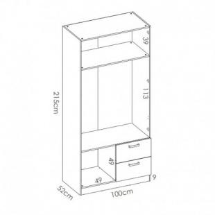 Medidas Armario 2 puertas 2 cajones Maxi 215 cm de altura, blanco con barra de colgar y 2 estantes, muy barato. Sayez