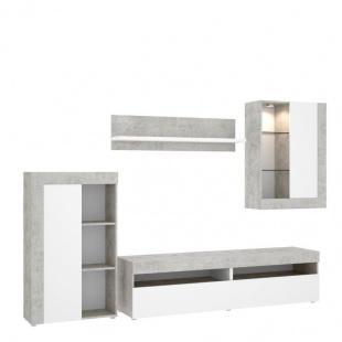 Mueble de salón Tokio modular con leds, cemento y blanco, barato. Sayez