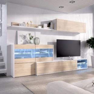 Mueble de salón con Leds Uma, blanco brillo y roble natural, reversible, rinconero, con vitrina y leds, barato. Sayez
