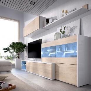 Mueble de salón con Leds Uma, blanco brillo y roble natural, reversible, rinconero, vitrina a la derecha, barato. Sayez