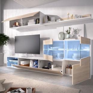 Mueble de salón con Leds Uma abierto, blanco brillo y roble natural, reversible, rinconero, con vitrina, barato. Sayez