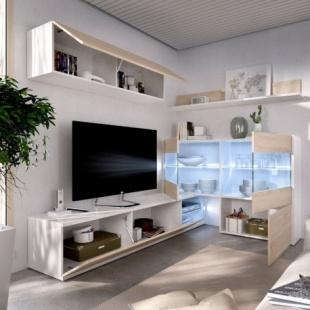 Mueble de salón con Leds Uma rinconero abierto, blanco brillo y roble natural, reversible, con vitrina, barato. Sayez