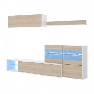 Mueble de salón con Leds Uma, blanco brillo y roble natural, reversible, esquinero, con vitrina y leds, barato. Sayez