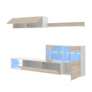 Mueble de salón con Leds Uma abierto, blanco brillo y roble natural, reversible, esquinero, con vitrina, barato. Sayez
