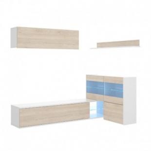 Mueble de salón con Leds Uma rinconero, blanco brillo y roble natural, reversible, con vitrina y leds, barato. Sayez