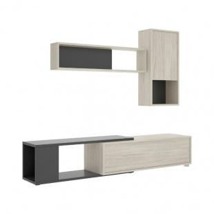 Mueble de Salón Obi Gris y Grafito, reversible, módulo Tv, módulo superior y estante, barato. Sayez