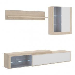 Mueble de Salón Koln reversible en Natural y Blanco Brillo, luces led, módulo TV, superior, estantería, barato. Sayez