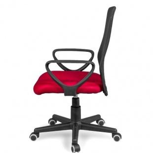 Silla de oficina y escritorio Coco color rojo lateral, cómoda, ergonómica y barata. Sayez