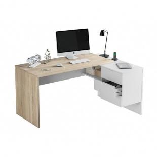 Mesa de escritorio con cajonera y estante Blanco Artik y Roble Canadian