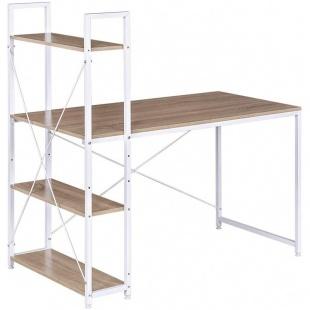 Mesa Escritorio con Estanteria Dobby barato color madera y blanco visto izquierda Sayez