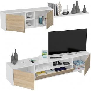 Mueble de salón Belus Blanco y Roble Canadian
