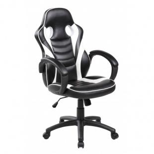 Silla escritorio gaming negra y blanca